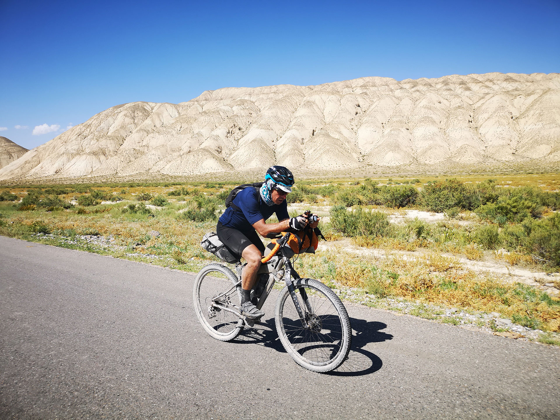 Pierre from Chiru bikes, riding the Silk Road Adventure Race